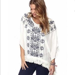 Embroidery Boho Poncho Pullover in Navy and White
